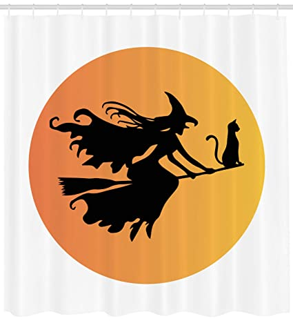 Lunarable Witch Shower Curtain Black Silhouette Fairytale Woman Flying With Her Cat Dangerous Night Autumn