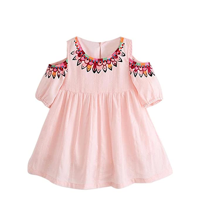 Toddler Kids Baby Girls Sleeveless Flower Printing Tassels Party Pageant Dress