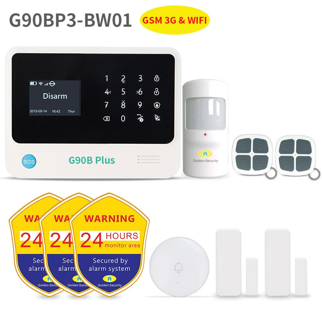 Home Security System,Golden Security touch screen keypad LCD display Wireless WIFI & GSM(3G) 2-in-1 with Auto Dial,Motion Detectors and more DIY Home Alarm System G90BP3-BW01