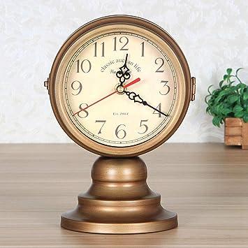 GongDi Reloj de Mesa Cerradura Cuarto Silencio Doble Cara Oficina Retro decoración Sentado Reloj 24x14cm