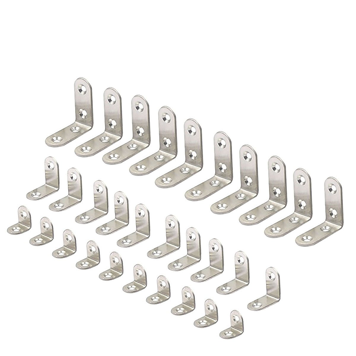 2 Size 30 Pieces Corner Brackets 90 Degree Angle Bracket Corner Braces Stainless Steel L Bracket with Screws 20 x 20 mm 3030mm 40 x 40mm Each Size 10 Pieces