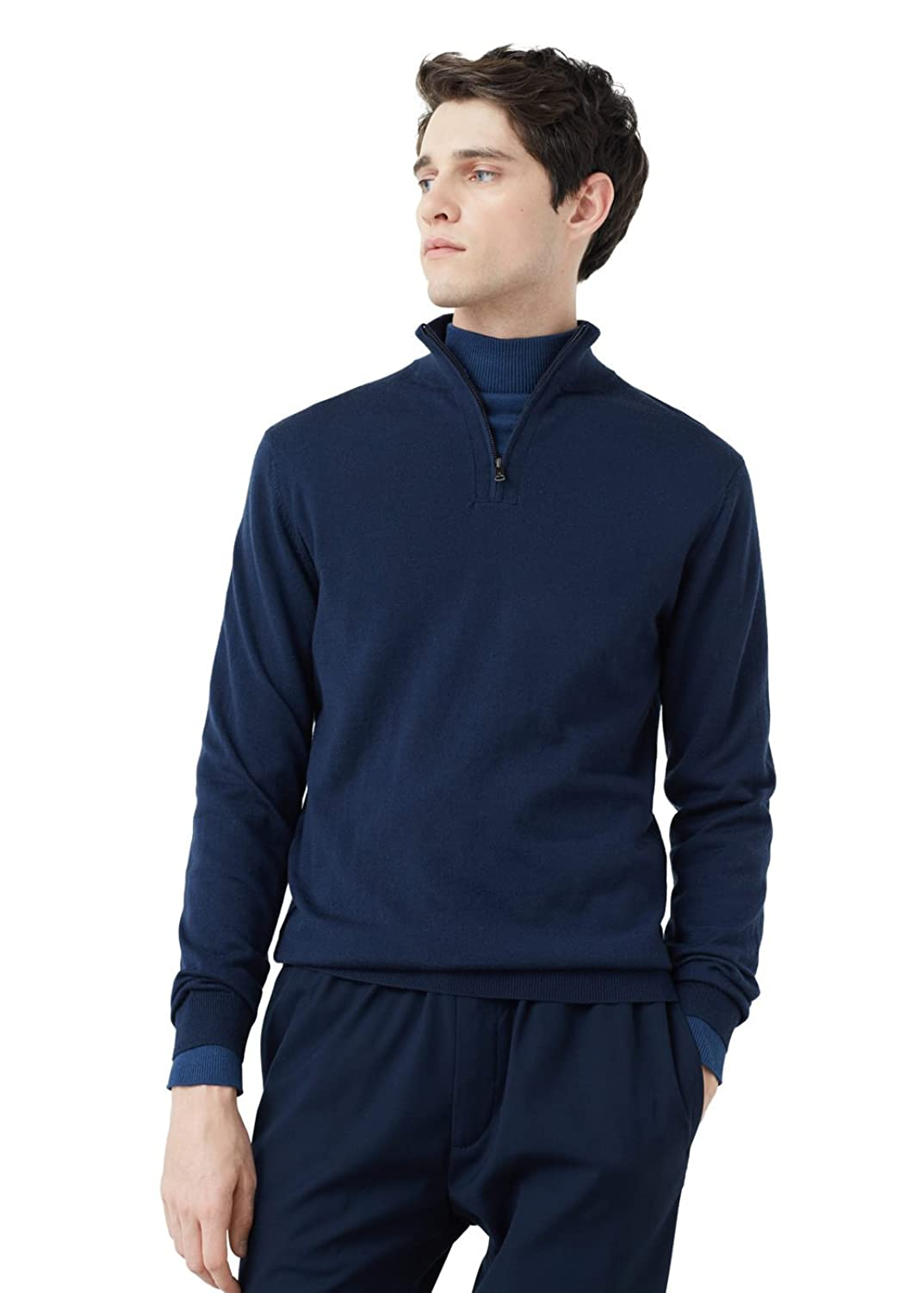MANGO MAN - Cotton cashmere-blend cardigan - Size:L - Color:Navy