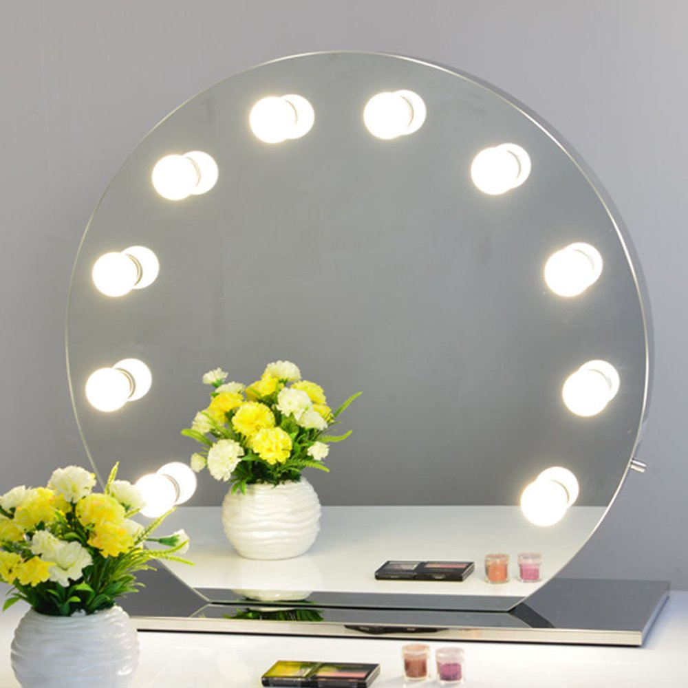 Chende Frameless Hollywood Makeup Vanity Mirror with Light Tabletops Lighted Mirror with Dimmer Christmas Gift, Illuminate Vanity Table Light Mirror, Free LED Bulbs (Round, Frameless)