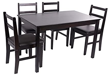 Merax Soild Wood 5 Piece Dining Sets 4 Person Dinning Table And Cushion  Seat Dinning