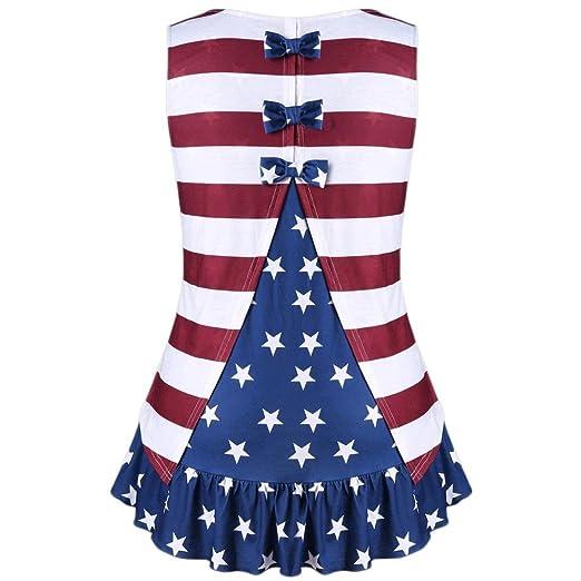 7a0231ac9bb Goddessvan Womens American Flag Print Shirts Casual Ruffles Bowknot ...