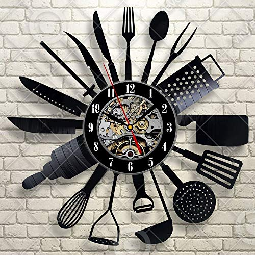 xushihanjjli Wall Clocks Cutlery Modern Design Spoon Fork Kitchen Watch Vintage Retro Style Vinyl Record Silent Can Well Decorate Home Office Coffee Bar Hotel Restaurant