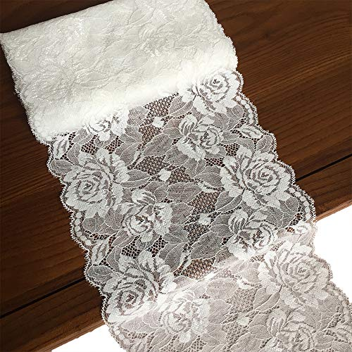 Lace Realm 7.5 X 180 inches White Lace Table Runner/Overlay Lace Tablecloth Gorgeous Spring Summer Decoration Wedding Party Decoration Baby & Bridal Shower Decor (5927)
