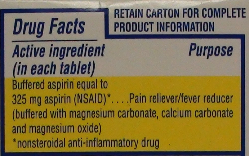 Tri Buffered Aspirin Tablets Generic for Bufferin 325 mg 100 Tablets per Bottle.