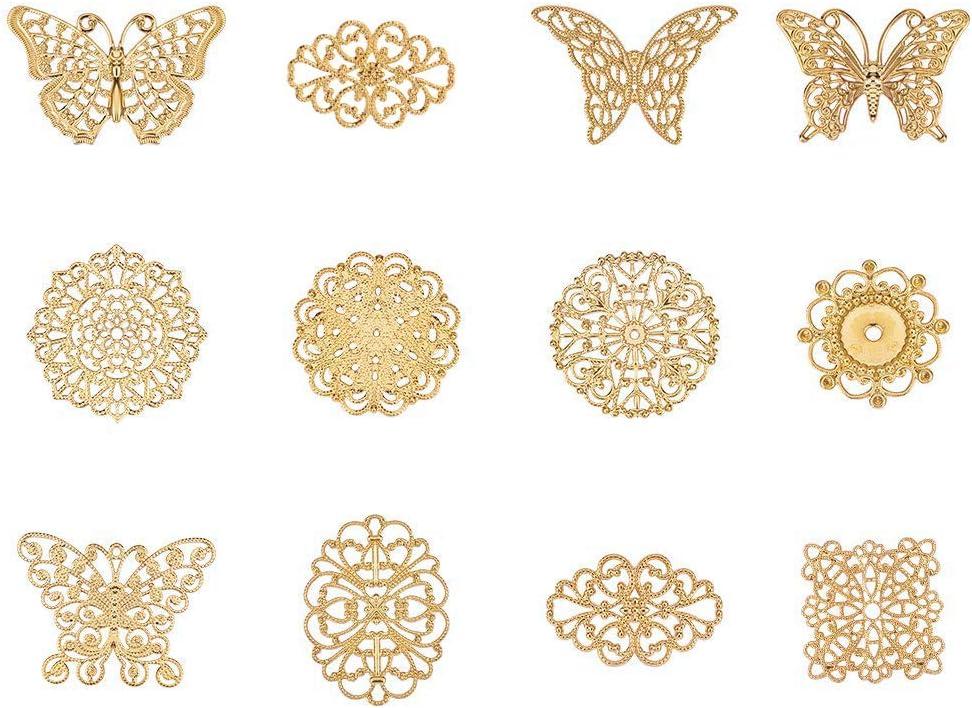 30pcs//set Leaf Filigree Wraps Connectors Metal Charm DIY Findings Jewelry Mak HV