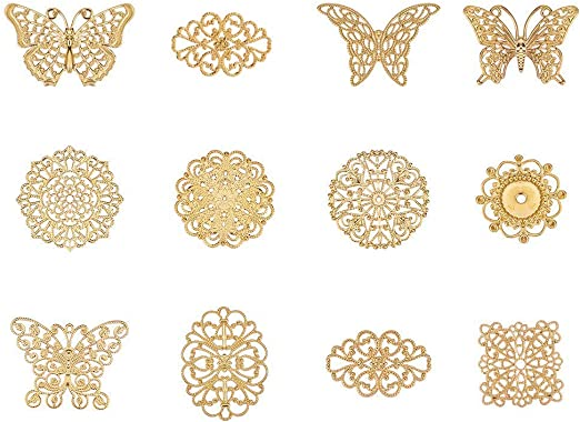 60pcs Vintage Bronze Alloy 12x12mm Flowers Pendant Charms DIY Accessories 33112
