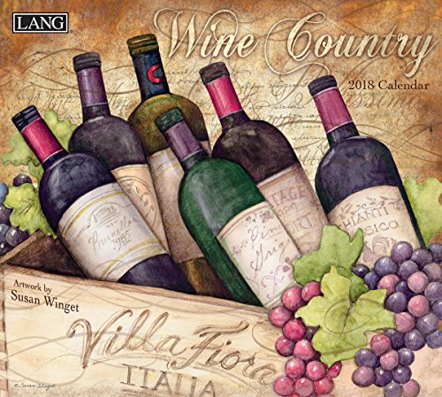 "LANG - 2018 Wall Calendar - ""Wine Country"" - Artwork By Susan Winget - 12 Month - Open, 13 3/8"" X 24"""
