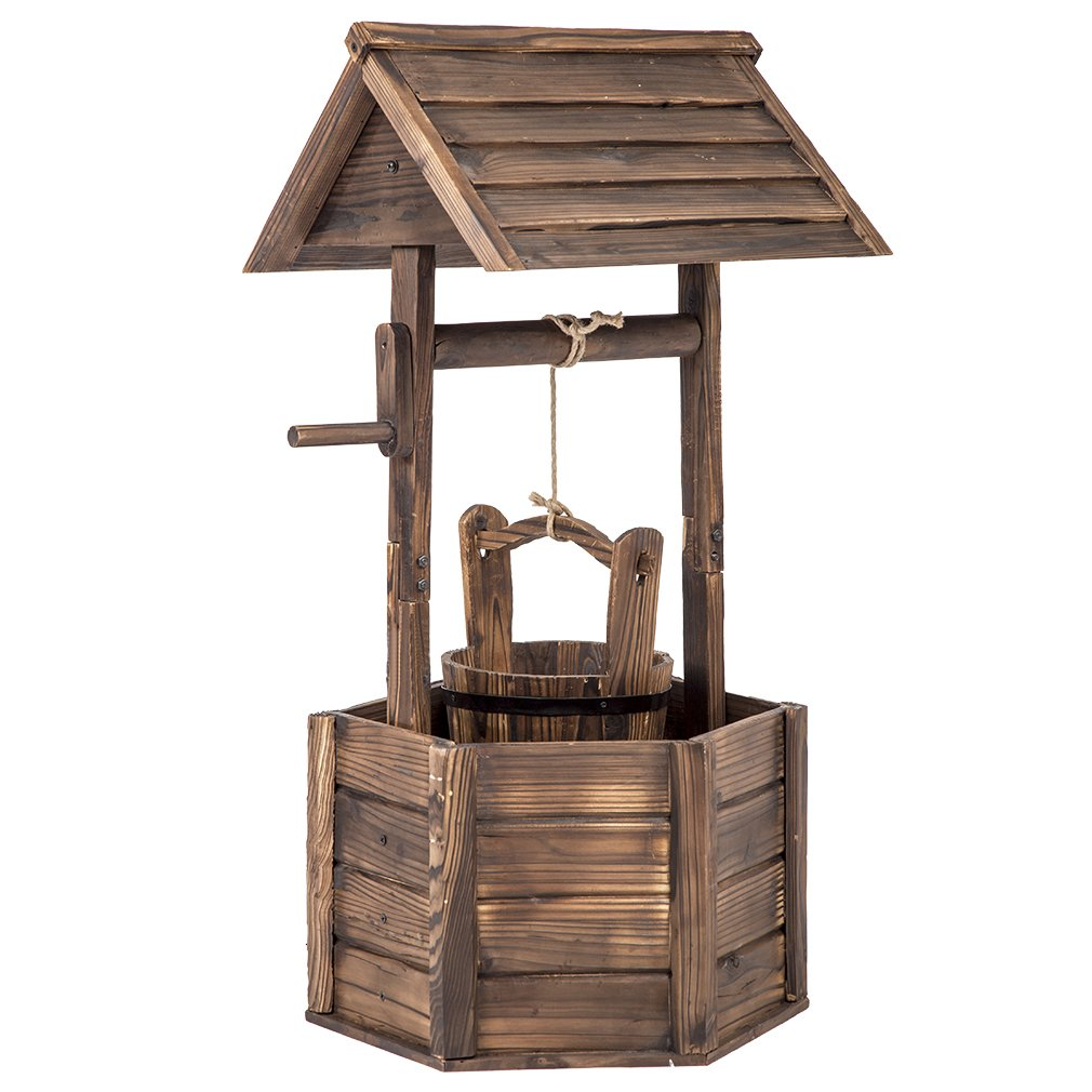 BestMassage Outdoor Wooden Wishing Well Bucket Flower Plants Planter Yard Garden Home Decor