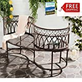 Cast Iron Garden Bench Outdoor Indoor Antique Brown Patio Seat Furniture For 2 Person Bench Modern Rustic Loveseat Porch Backyard Bistro Lawn And Garden Yard Park Seat And eBook By NAKSHOP