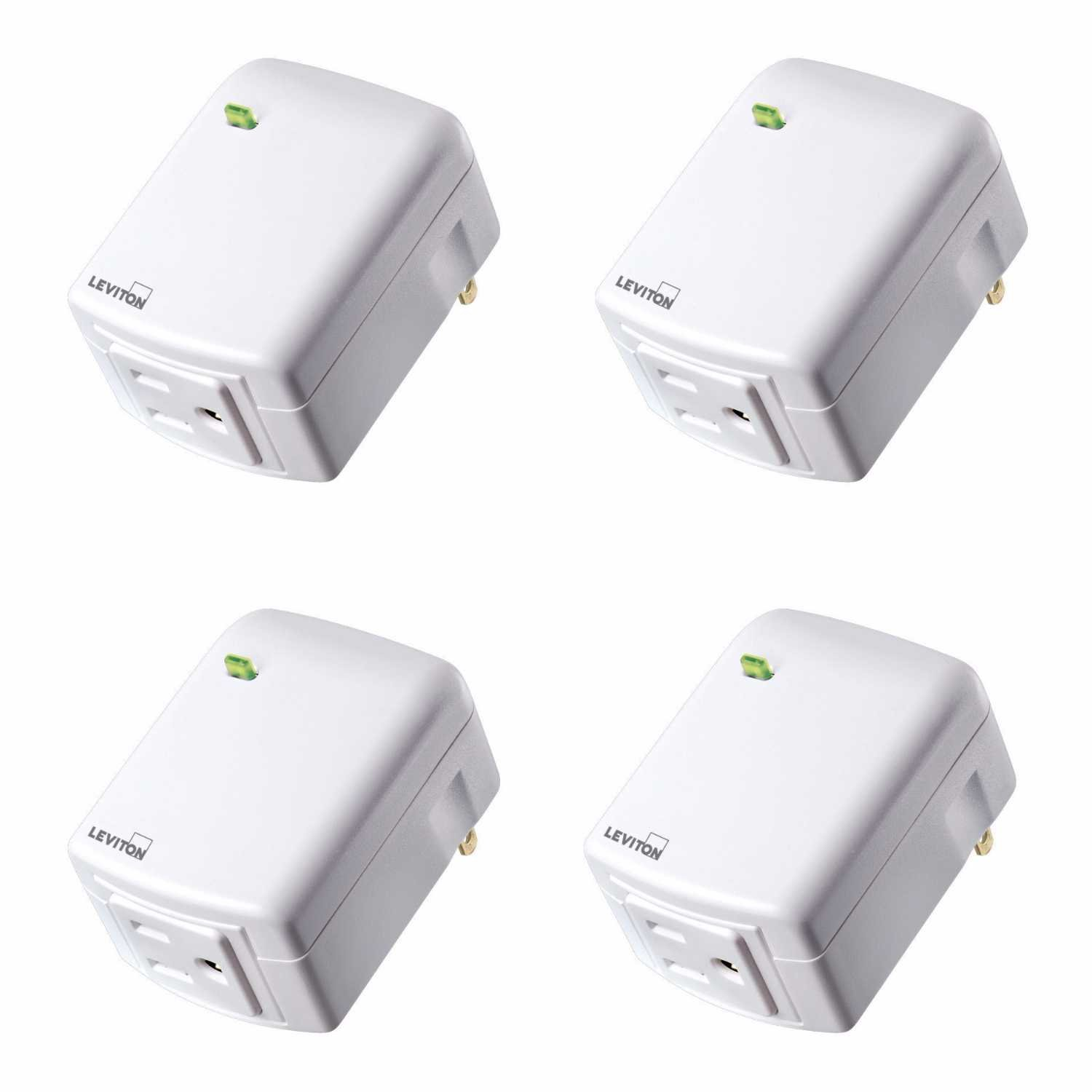 Leviton DZPA1-2BW Decora Smart Plug-in Outlet with Z-Wave Plus Technology (4 Pack)