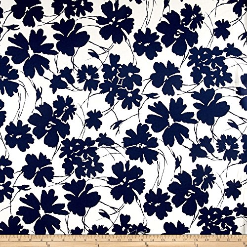Telio Bloom Stretch Cotton Sateen Flower Print Cream/Navy Fabric By The Yard (Cotton Stretch Sateen Fabric)