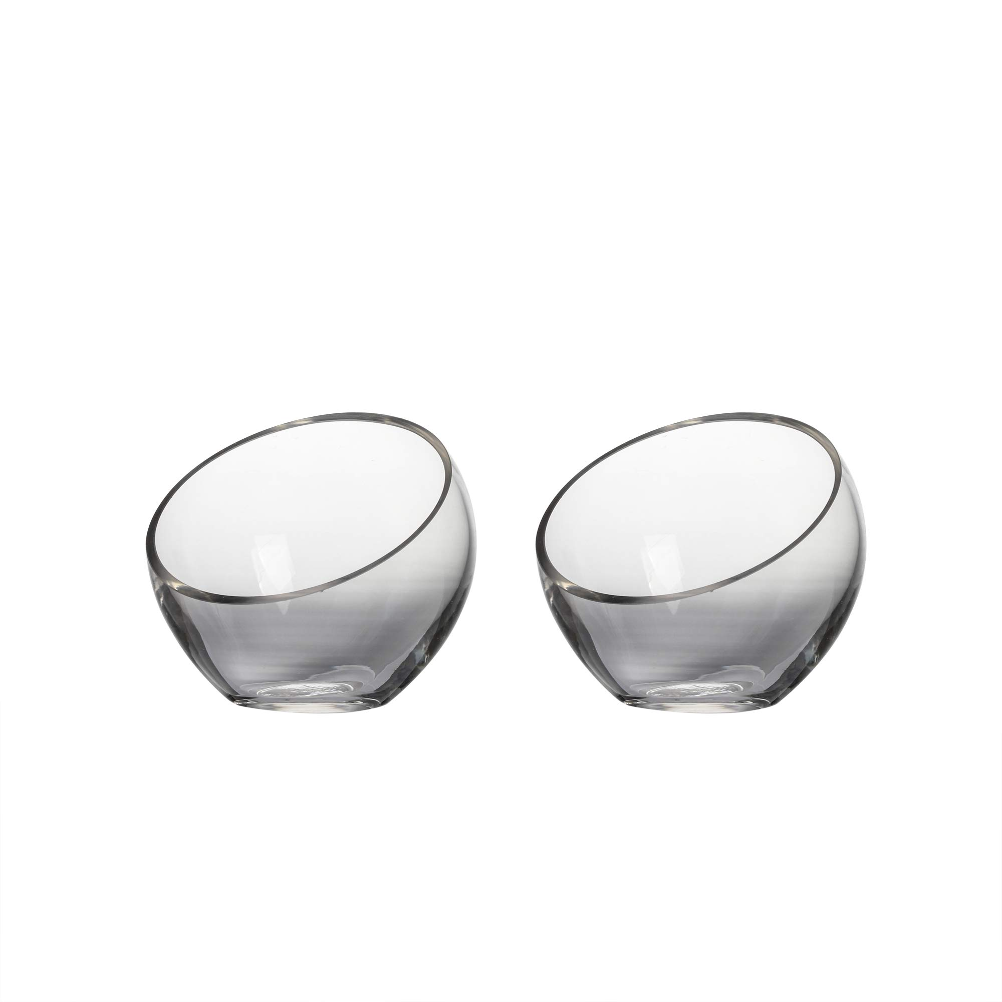 Whole Housewares Handmade Clear Glass Globe Bowl with Slanted Opening Set of 2 Dia 5.9 inch Succulent Terrarium