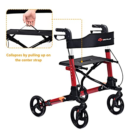 COSTWAY Lightweight Folding Rollator Walker with Seat | Transport Chair,  Dual Safety Brake, Adjustable Height, 4 Wheels Mobility Aids with