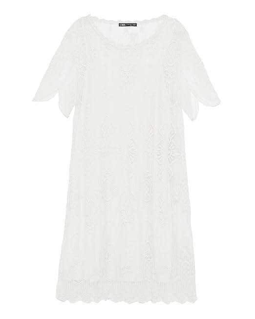 0e8eb738 Zara Women's Embroidered Dress 1067/005 Off-White: Amazon.co.uk ...