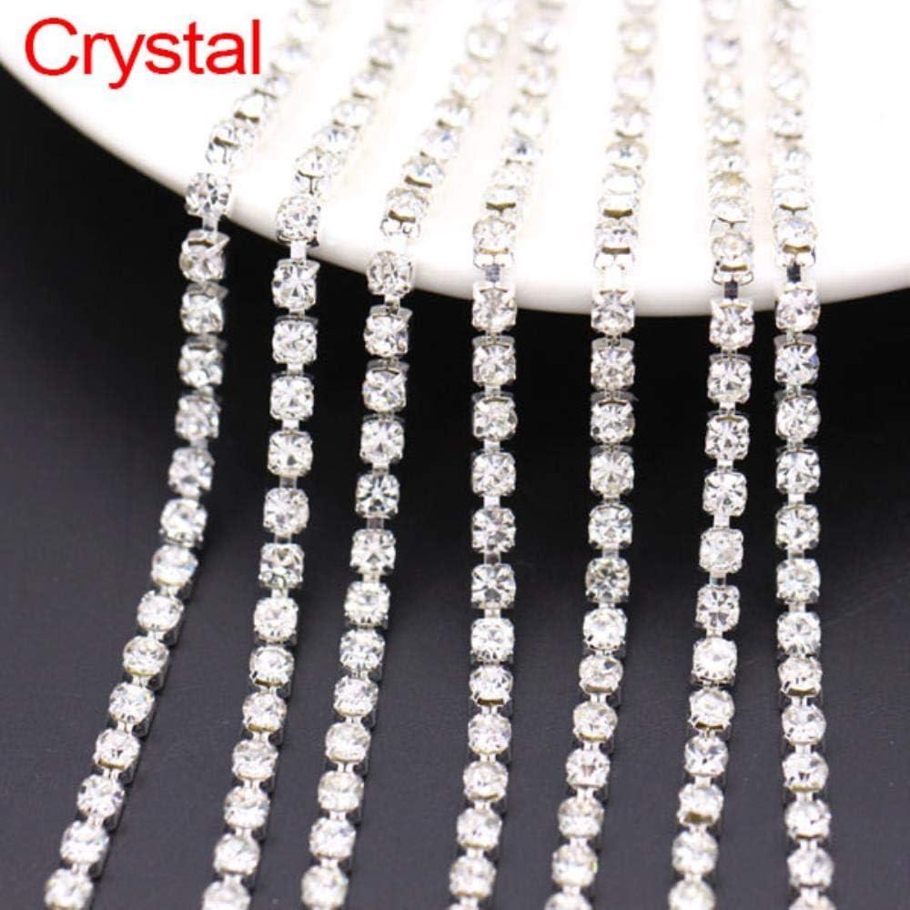 Cadena de Diamantes de imitación de 5 Yardas 21 Colores Crystal Trim Sliver Cup Claw Chain Coser en Diamantes de imitación de Vidrio para Ropa 1.5/2 / 2.5/2.8/3 / 4MM, Crystal, SS16 (3.6-3.7MM)