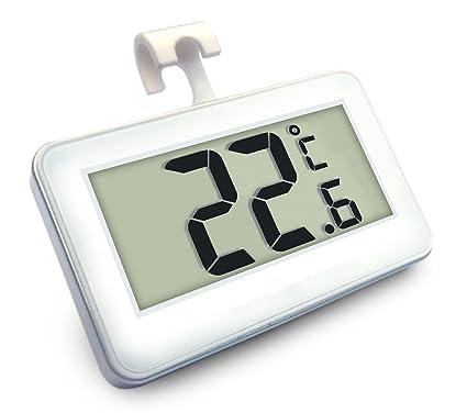 Gudelaa Nevera Termómetro Digital Congelador Habitación Termómetro Impermeable Pantalla Grande LCD Blanco