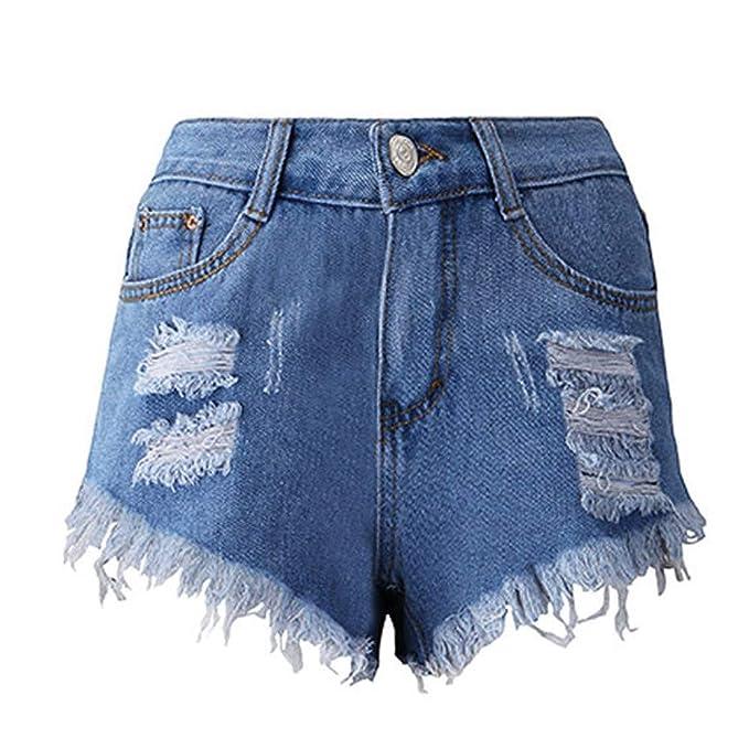 NPRADLA Vaqueros Jeans Tendencia Cortos de Mujer Borla ...
