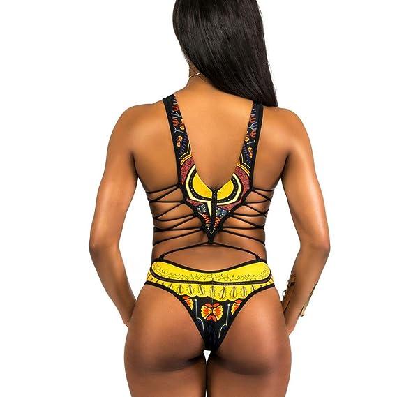 f9765e41270 2018 Ladies Swimsuit African Print One Piece Bikini Monokini Halter Top Push  Up Padded High Neck Swimwear at Amazon Women s Clothing store