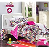 Chic Home 8 Piece Princess Paisley and Polka Dot Printed Reversible Comforter Sheet Set, Twin X-Long, Fuchsia