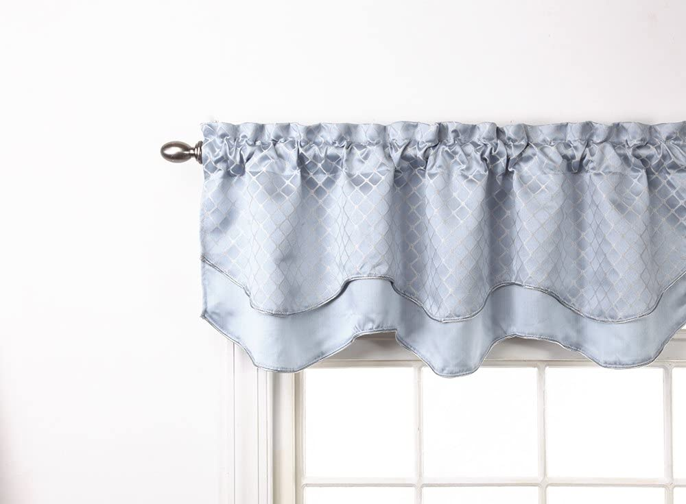 Stylemaster Renaissance Home Fashion Easton Layered Scalloped Valance with Cording, 54-Inch by 17-Inch, Sky