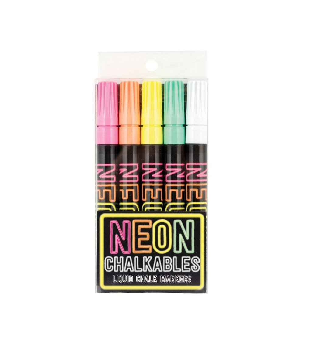 OOLY Neon Chalkables Liquid Chalk Markers, Set of 5 (130-030)