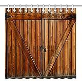 Wknoon 72 x 72 Inch Shower Curtain Set, Vintage Rustic Fence Gate Wood Farm Door