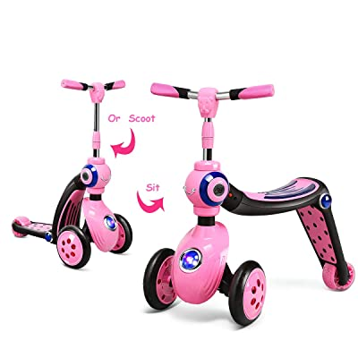 Baby Joy 2-in-1 Kick Scooter & Ride-On Balance Trike for Kids 3 Wheel Toddler Scooter for Girls & Boys, Adjustable Height w/Extra-Wide Deck PU Flashing Wheel for Children from 3 to 5 Year Old (Pink) : Sports & Outdoors [5Bkhe1107203]