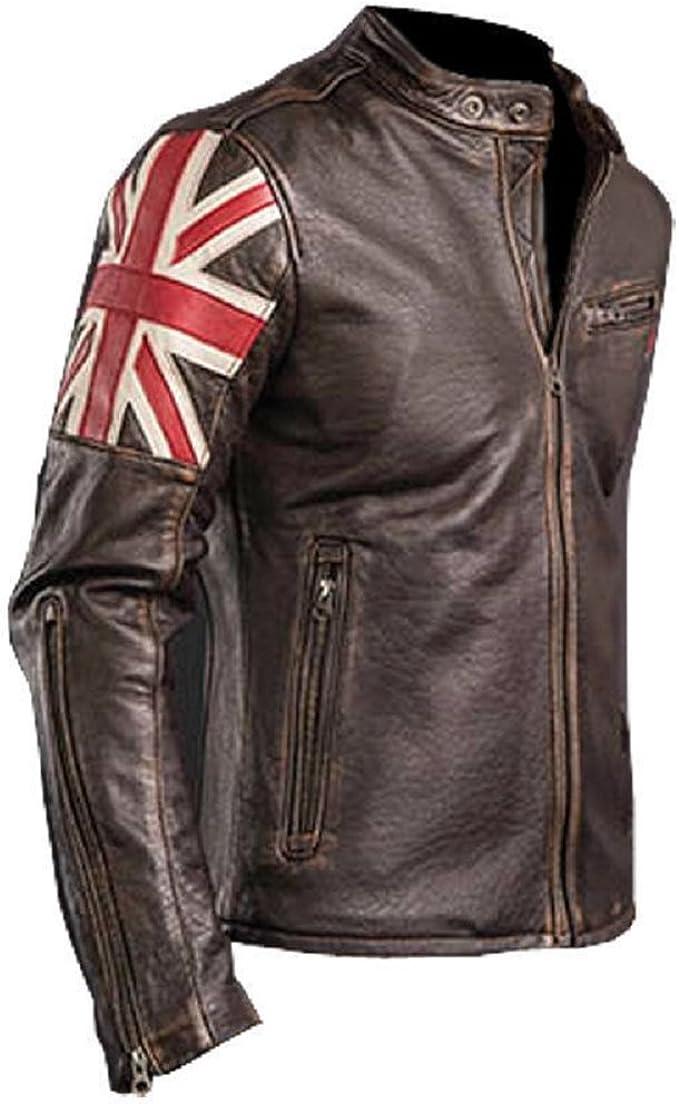 e-clothing UK Bandera Cráneo Chaqueta de Cuero Genuino Marron Oscuro: Amazon.es: Ropa y accesorios