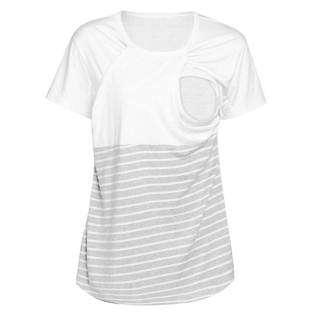 Women Breastfeeding Shirt Striped Patchwork Short Sleeve Maternity Mama Nursing Tops Challyhope
