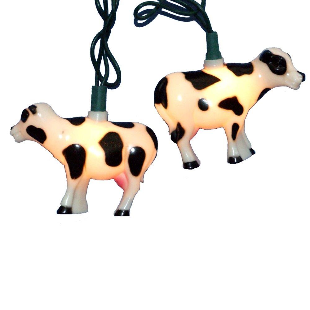 amazon com kurt adler 10 light cow indoor outdoor light set home