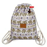 Thailand Elephant Print Drawstring Bag Medium Size 16 Inch (Brown Purple) For Sale