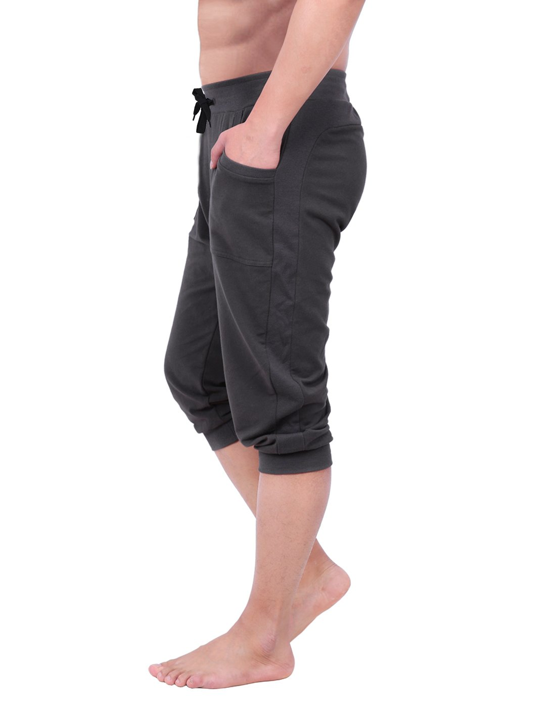 HDE Mens Workout Jogger Casual Waistband Sport Training Cuffed Yoga Capri Pant (Charcoal, Small) by HDE (Image #3)