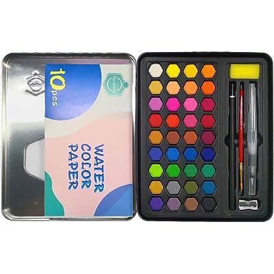 mreechan Set de Pinturas de Acuarela,Set de Acuarelas de 36 Colores de Agua, Incluye 36 Colores,10 Papeles de Acuarela,3 Pinceles de Agua y 1 Esponja para Principiantes y Profesionales
