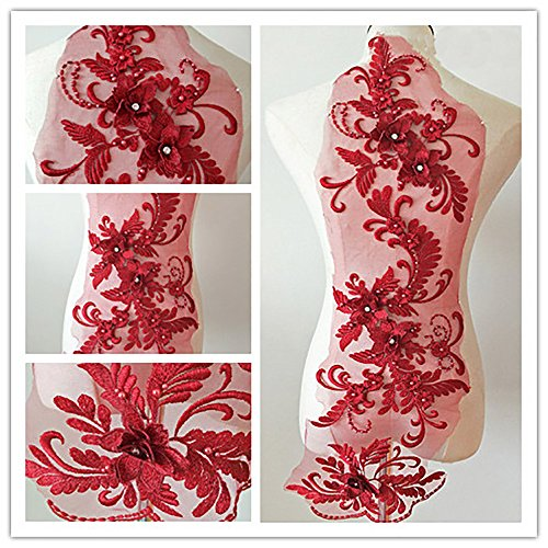 3D beaded flower sequence lace applique motif sewing bridal wedding 3in1 20cmx72cm (Burgundy) ()