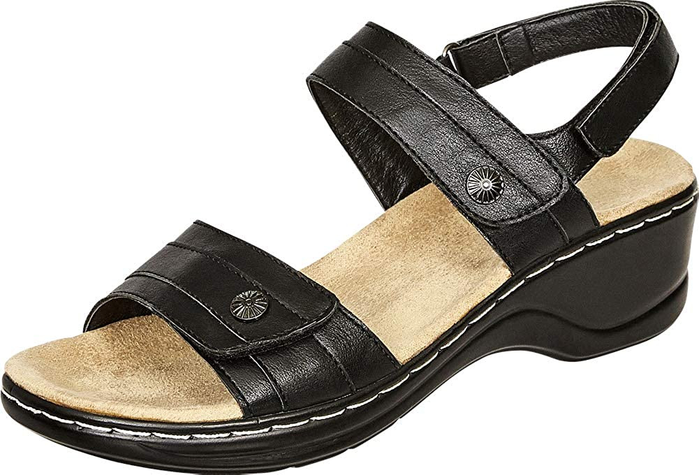 Black Pu Cambridge Select Women's Open Toe Slingback Comfort Low Wedge Sandal