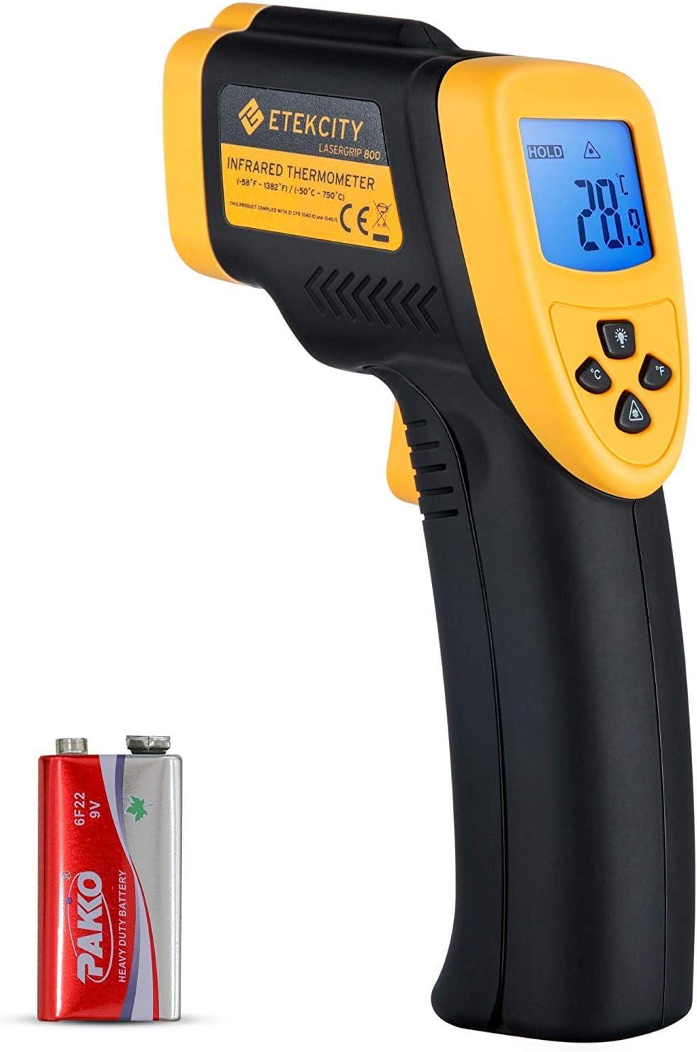 Etekcity 800 Termómetro Infrarrojo Digital Láser -50 ℃ a 750 ℃ para Coche, Cocina, Agua, Piscina, Pistola de Temperatura(no sirve para medir la temperatura corporal)