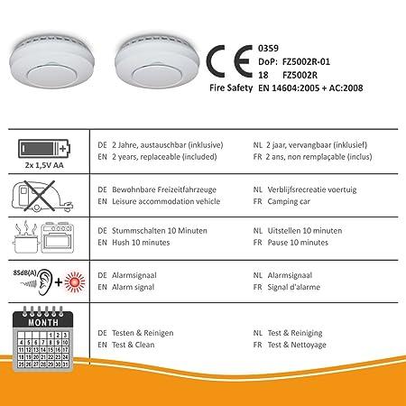 ELRO FZ5002R Detectores de Humo Blanco: Amazon.es: Bricolaje y herramientas