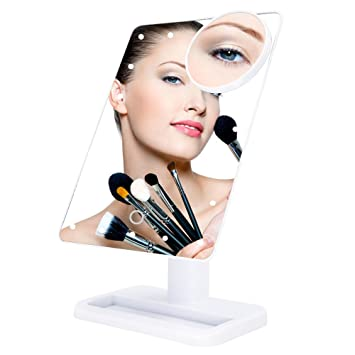 Amazon Com Bukm Tabletop Led Lighted Vanity Makeup Mirrors Touch
