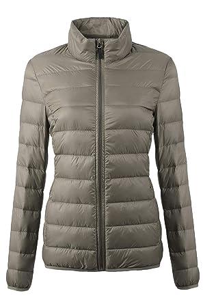 584735406ea EQUICK Women s Down Jacket Packable Ultra Lightweight Outwear Puffer Coats  with Travel Bag (Khaki