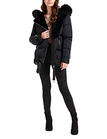 store details for speical offer Lipsy Womens Asymmetric Zip Puffer Jacket - Black -: Amazon ...