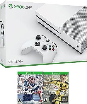 XBOX UNO Sports Bundle (3 artículos): Microsoft Xbox One S 500 GB Robot blanco consola, NFL 17, 17 de la FIFA y juegos: Microsoft: Amazon.es: Electrónica