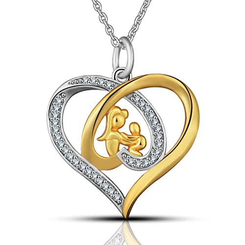 a673af2eb98b EUDORA Amor de madre Plata de ley 925 Joyería Zirconia cúbica Chapado en  oro Colgante de