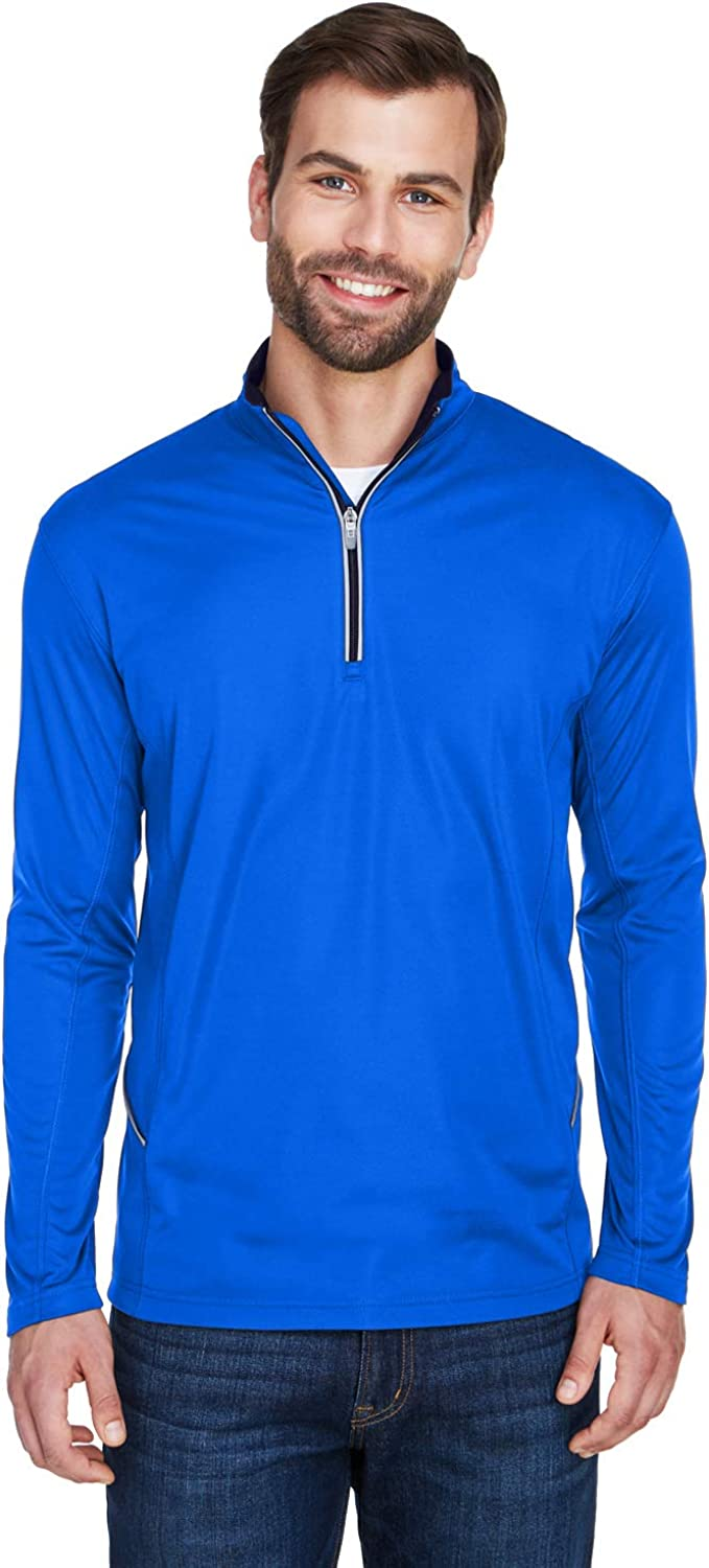 UltraClub Mens Cool /& Dry Sport 1//4-Zip Pullover
