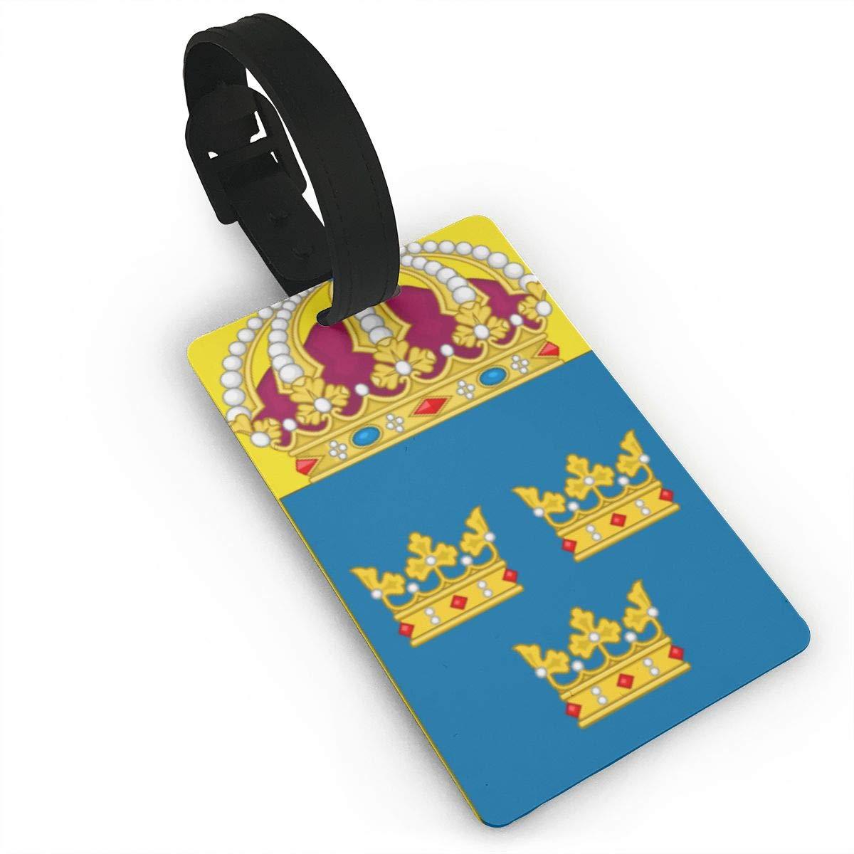 KODW12 Coat of Arms of Sweden Luggage Tag Travel Bag Labels Suitcase Bag Tag Name Address Cards