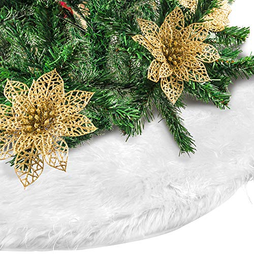 EOOUT 31Inch Christmas Tree Decoration Skirt, Plush Artificial Wool Christmas Tree Skirt, 10pcs Golden Christmas Flower, Christmas Decorations