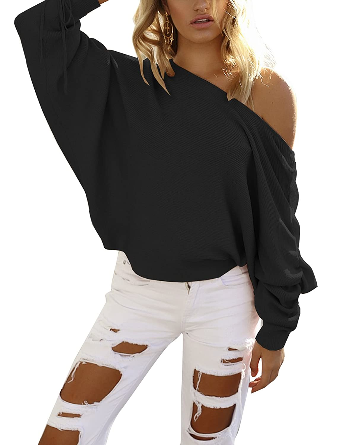 Yieune Pullover for Women Long Sleeve Oversized Sweater Casual Knitted Sweatshirt